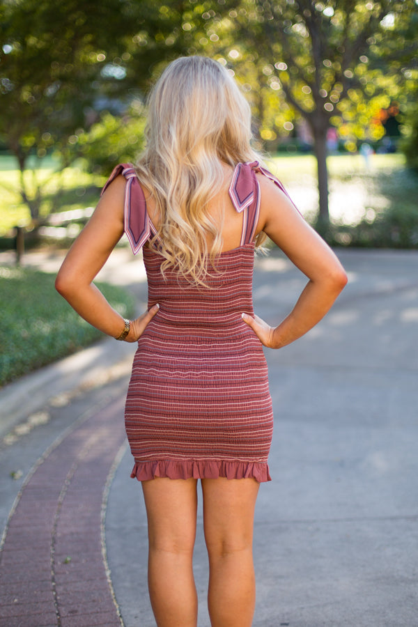 Smocked & Striped Dress- Rust