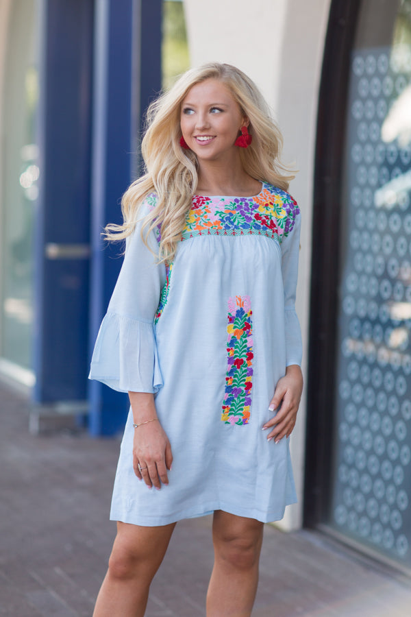 The Brinkley Long Sleeve Dress - Blue