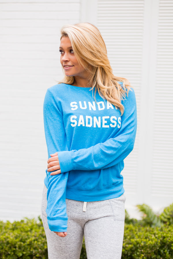 Wildfox Sunday Sadness Baggy Beach Jumper- Wonderland Blue