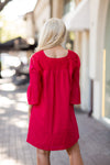 The Reina Long Sleeve Dress- Red