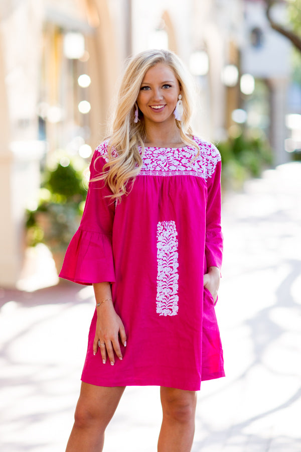 The Margo Long Sleeve Dress- Hot Pink