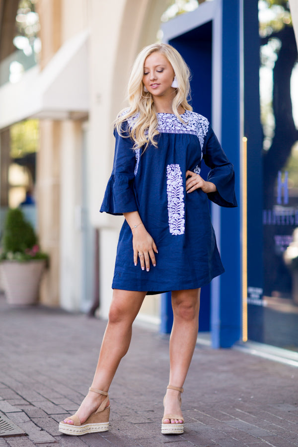 The Nina Long Sleeve Dress- Navy
