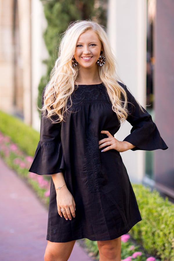 The Audrey Long Sleeve Dress- Black