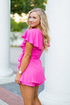 Barbie Wrap Romper- Hot Pink