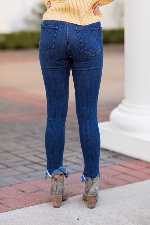 Don't Stress It Skinny Jeans - Dark Wash Blue