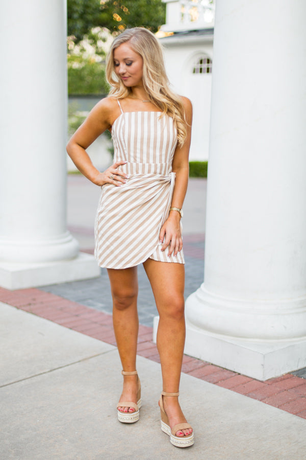 Cape Cod Striped Dress- Taupe