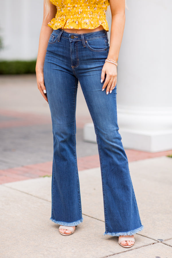 Frayed Edges Bell Bottom Jeans- Medium Denim