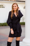 Candlelight Dinner Sweater Dress - Black