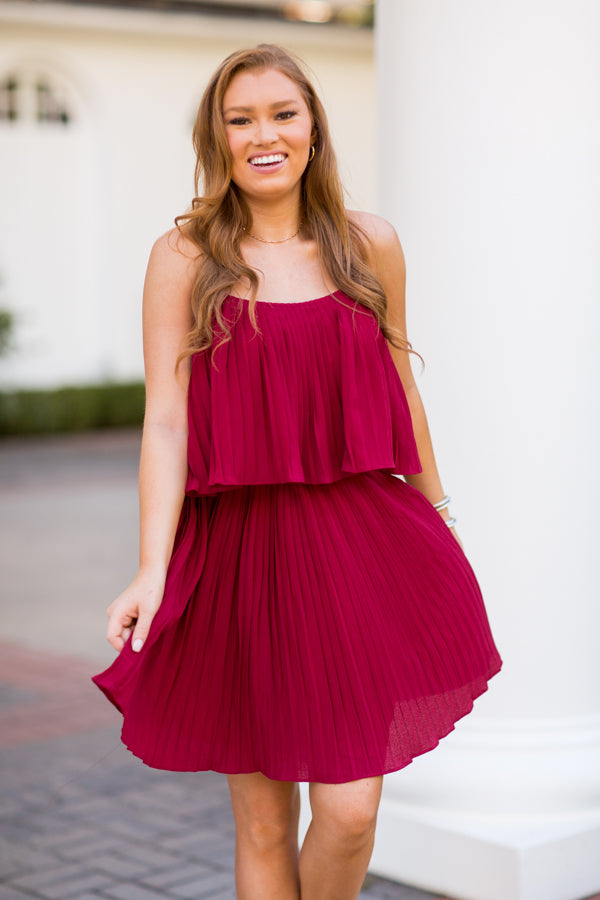 The Pleat Of The Moment Dress - Crimson