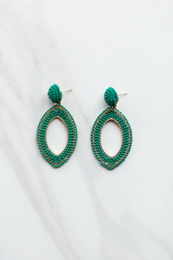 Beaded Eye Earrings- Aqua Green