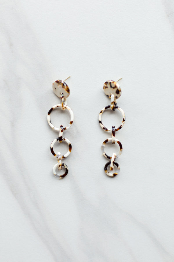 Acrylic Drip Earrings- Tortoise