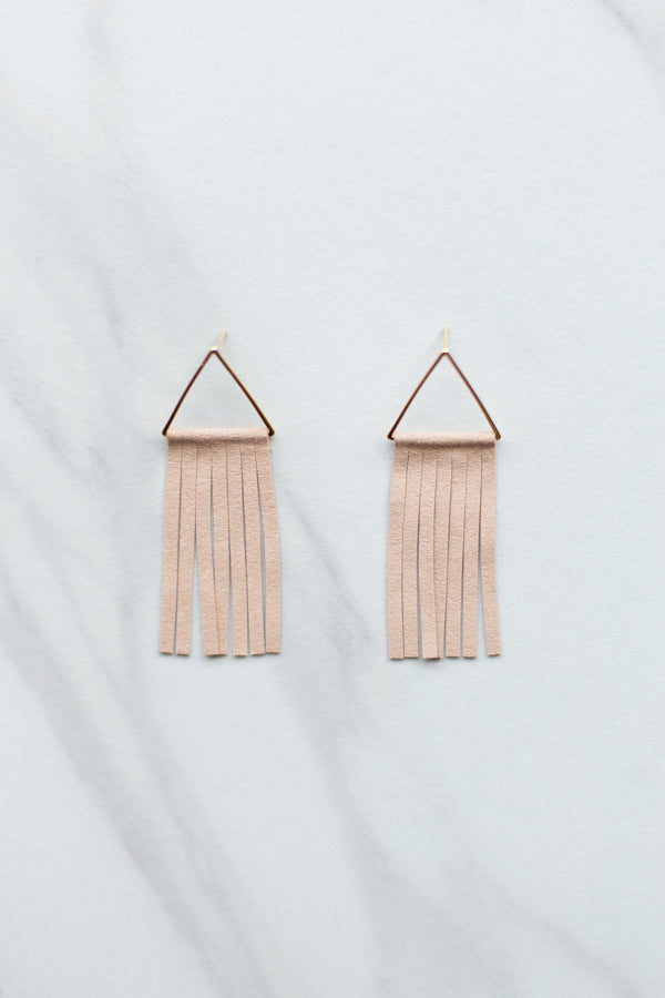 Suede Fringe Earrings- Tan