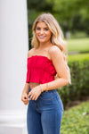 Peplum Pleats Crop Top- Red