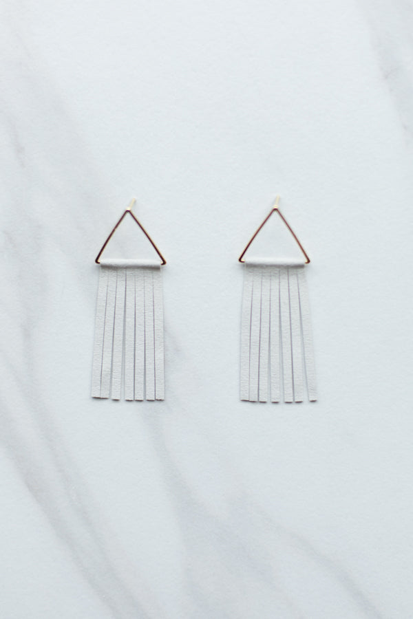 Suede Fringe Earrings- Ivory