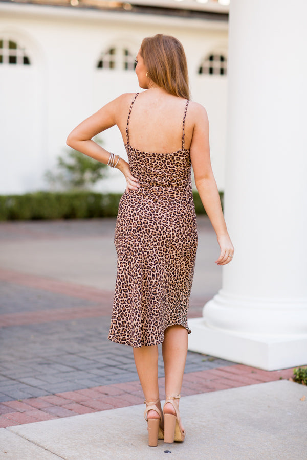 Catch Up Midi Dress - Leopard