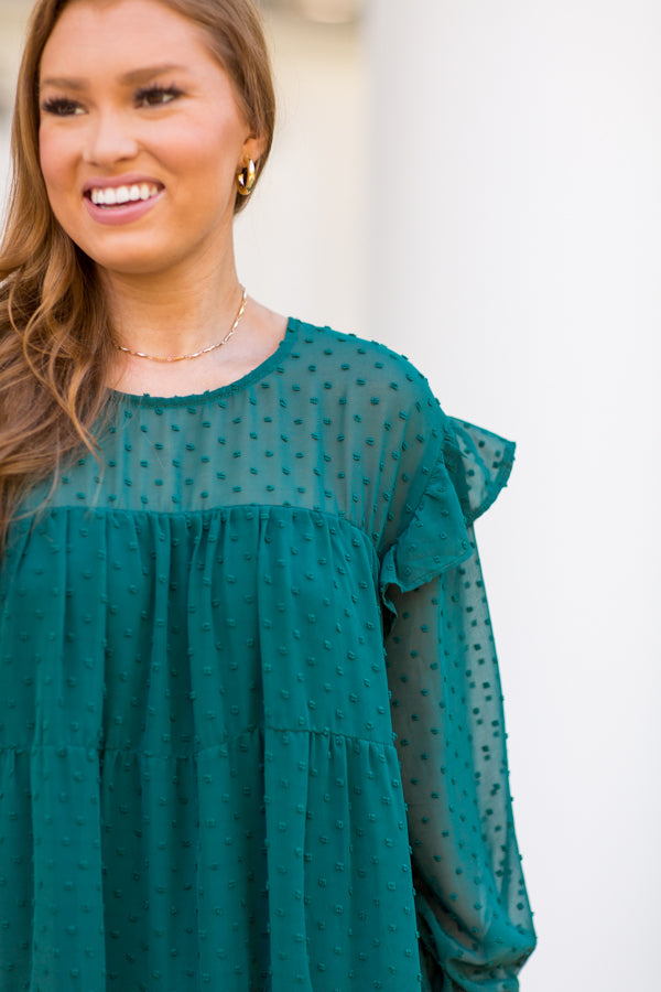 On The Dot Dress - Hunter Green