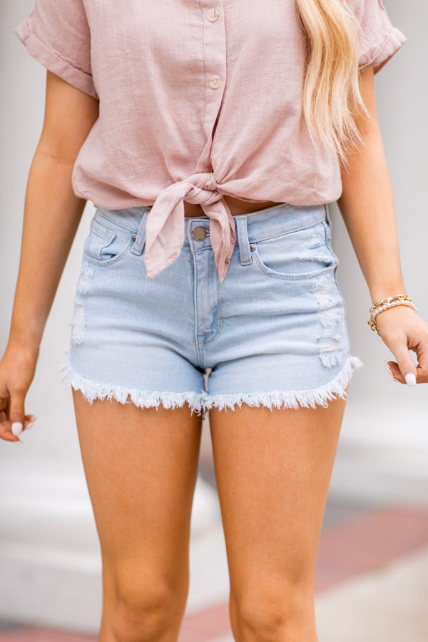 Dare You Denim Shorts- Light Wash