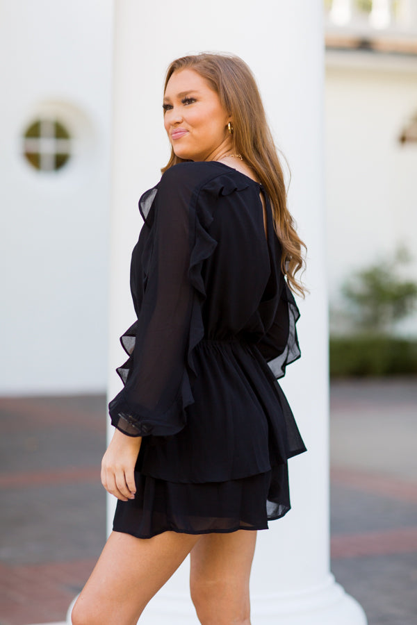 So Much To Say Romper - Black