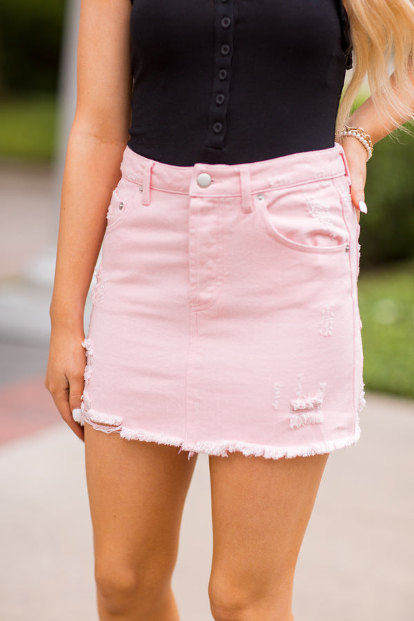 People Pleaser Denim Skirt- Prism Pink