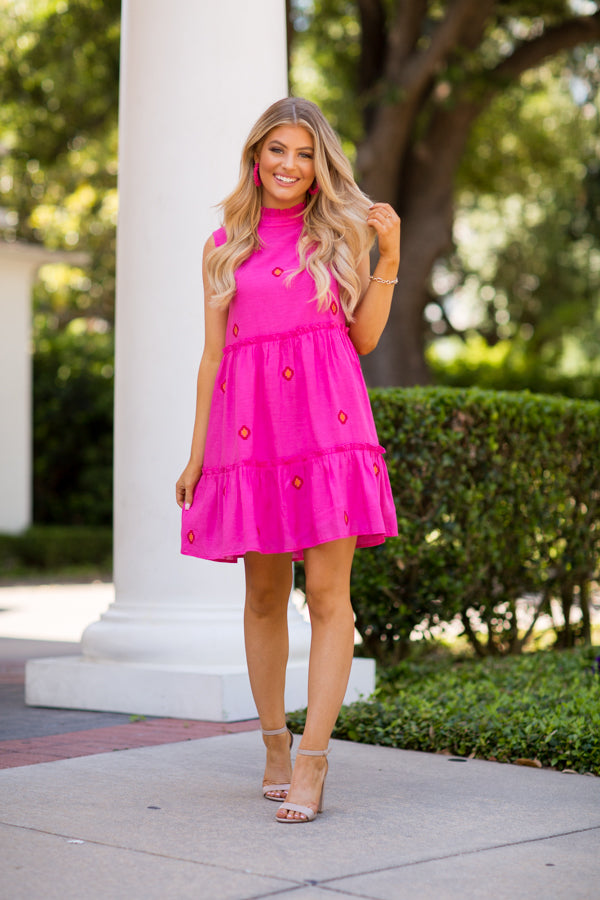 The Evelyn Dress- Hot Pink