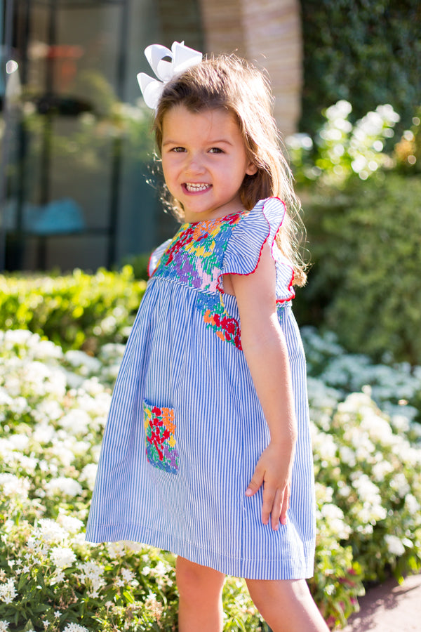 Ana Maria Baby Dress - Blue Stripe