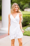 Say Congrats Wrap Dress- White