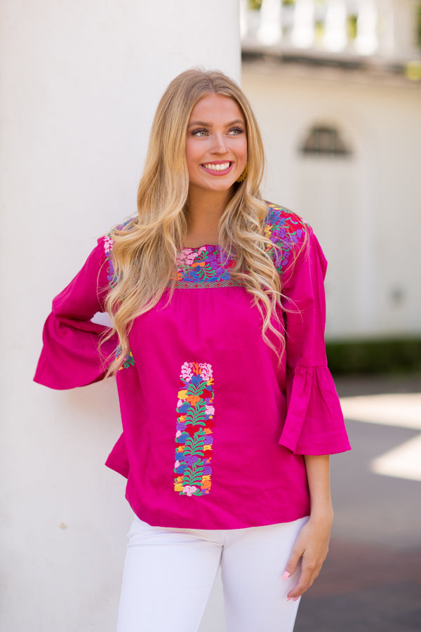 The Rosa Long Sleeve Top- Fucshia