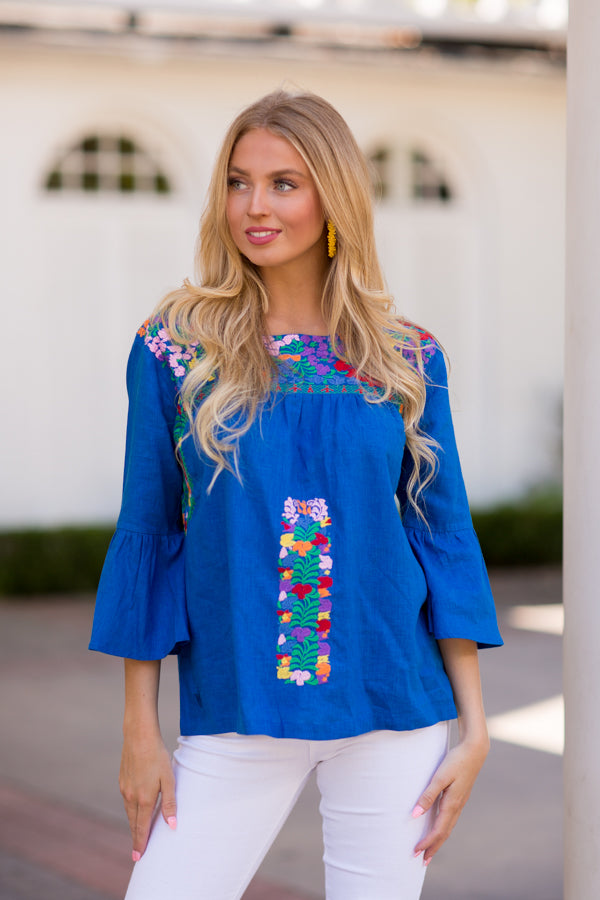 The Jenna Top- Cobalt Blue
