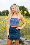 Smocked Crop Top- Navy