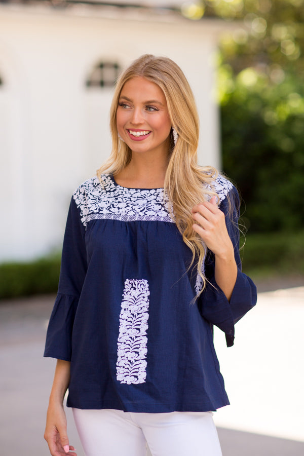 The Nina Long Sleeve Top- Navy