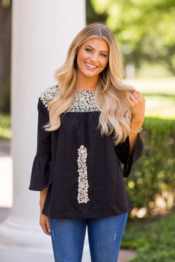 The Amanda Long Sleeve Top - Black