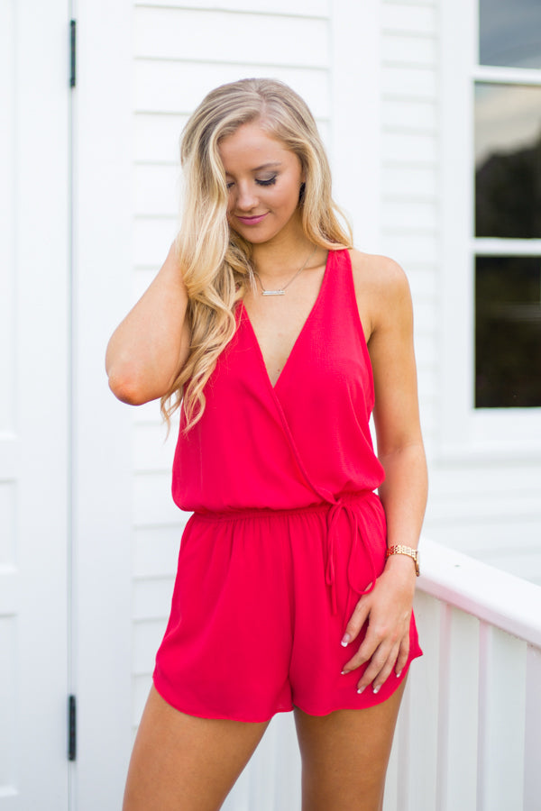 On The Reg' Romper- Red