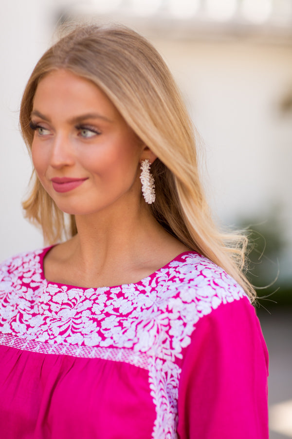 The Margo Long Sleeve Top- Hot Pink