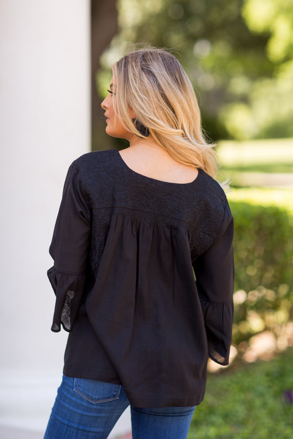 The Audrey Long Sleeve Top - Black