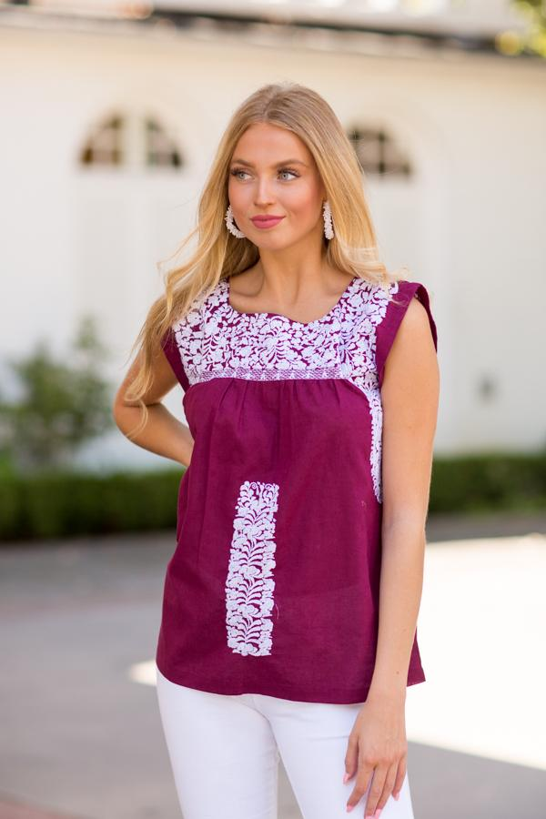 The Anita Top- Burgundy