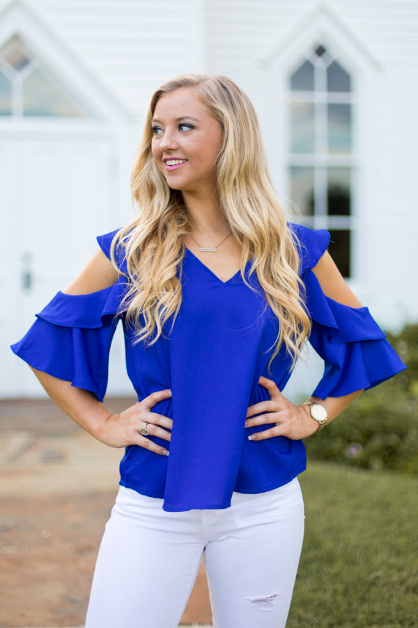 Cool Shoulder Top- Royal Blue