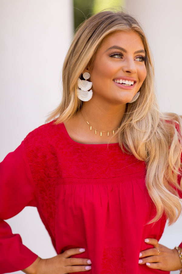 The Reina Long Sleeve Top - Red