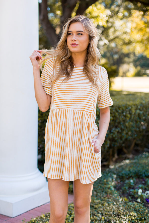 All The Buzz Babydoll Dress- Mustard