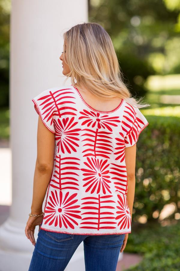 The Ava Top- Red