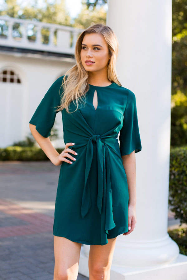 Elegant Evergreen Dress- Hunter Green