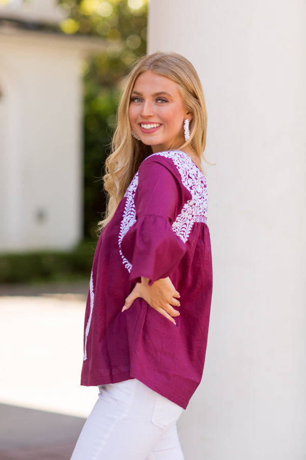 The Anita Long Sleeve Top- Burgundy