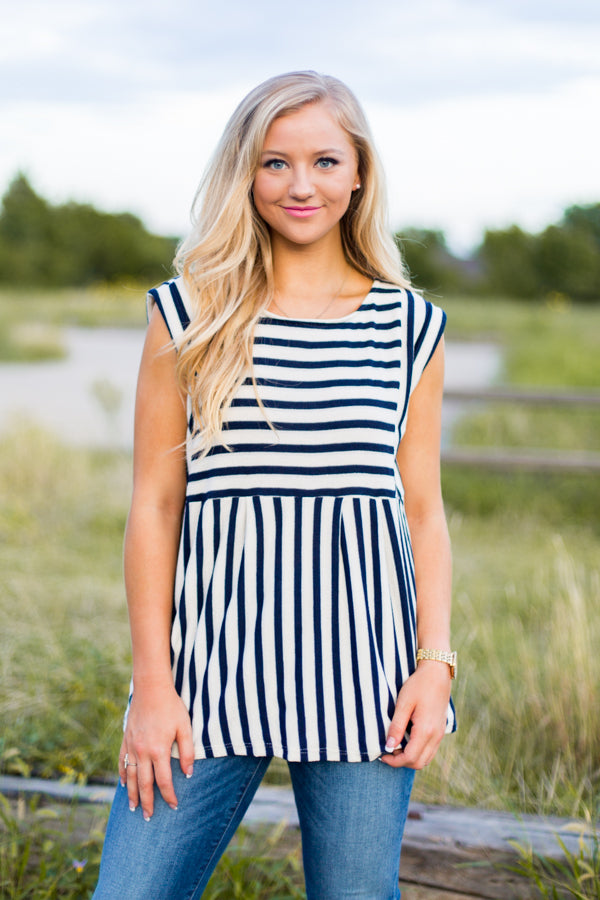 Babydoll Striped Top- Navy