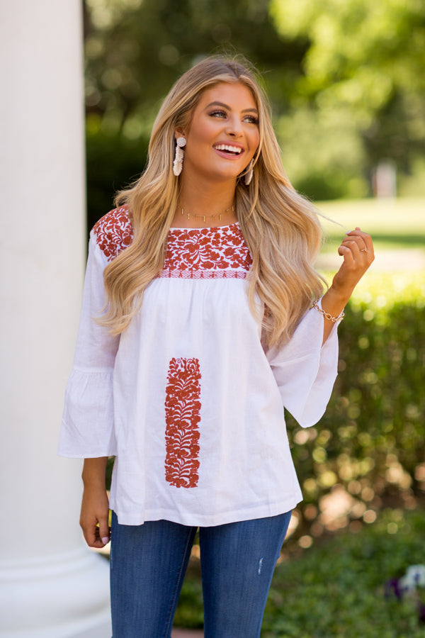 The Guadalupe Long Sleeve Top- Burnt Orange