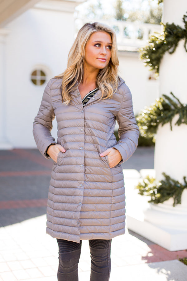 Puffer Please Jacket- Taupe