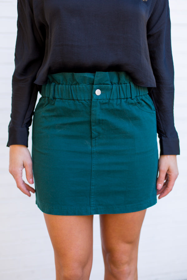 Lucky Girl Denim Skirt- Green