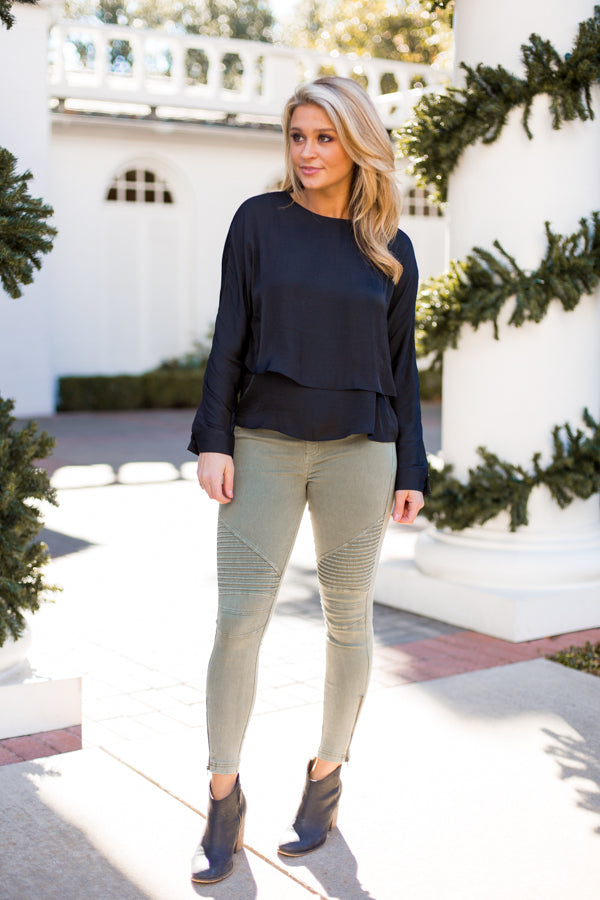 Moto Ankle Zip Leggings- Olive