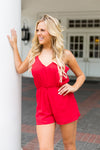 Just Add Boots Romper- Red