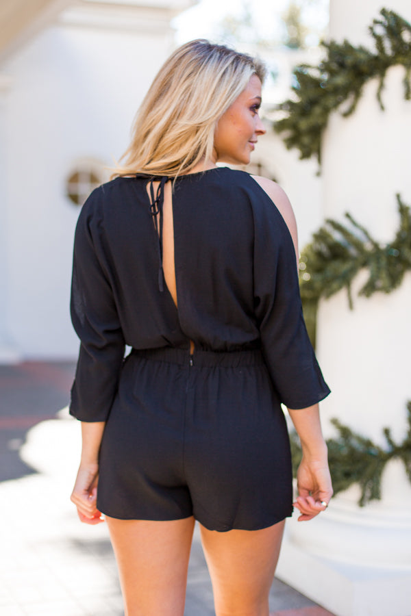 Take Me Away Romper- Black