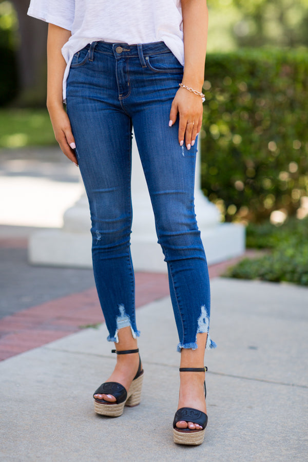 Fly With It Frayed Jeans- Medium Wash