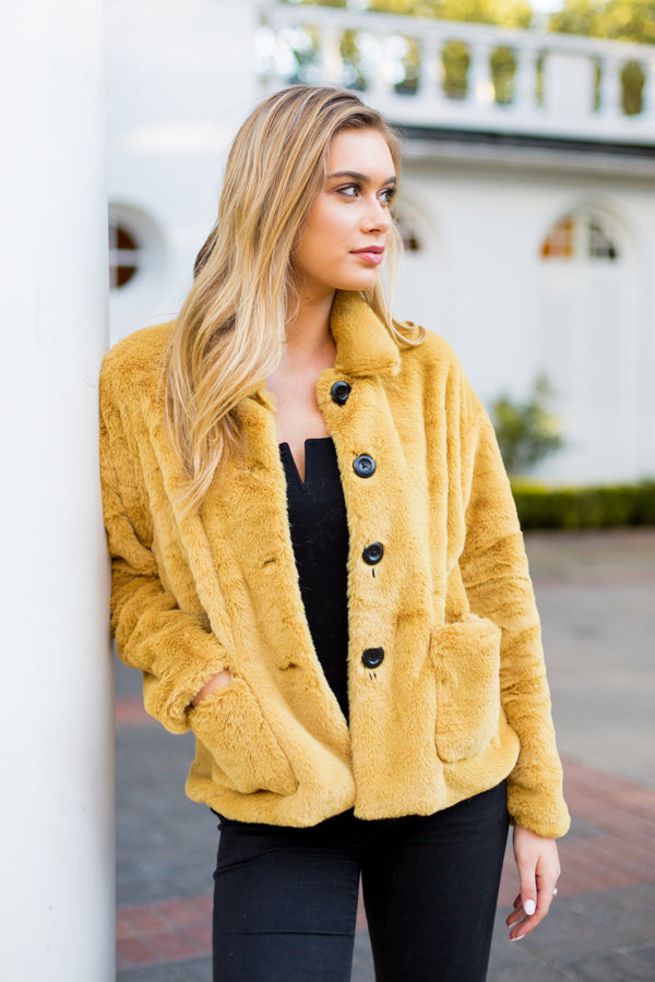 Manhattan Fur Coat- Mustard